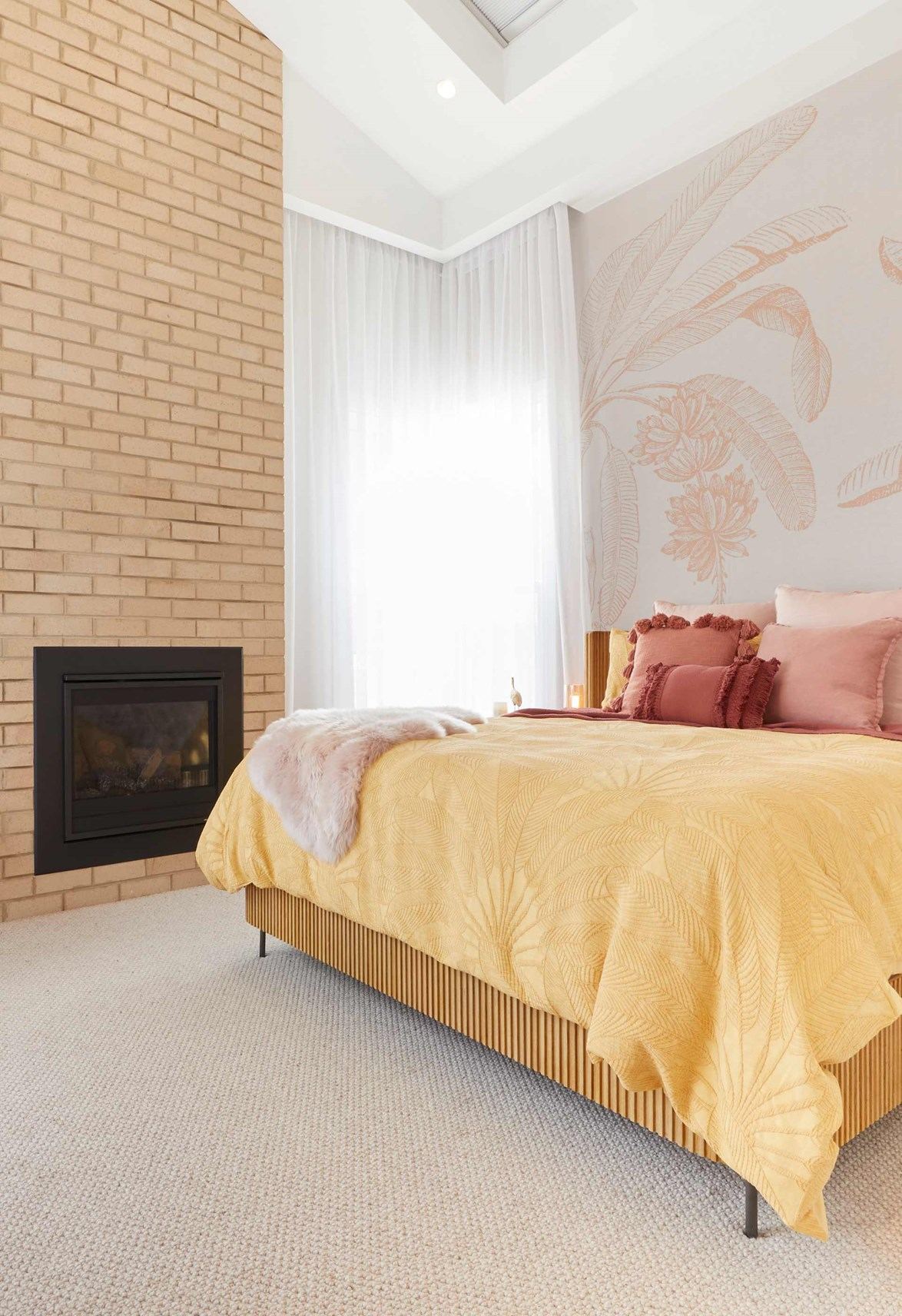 "Subtle pink palm-printed wallpaper gives Jimmy and Tam's [master bedroom](https://www.homestolove.com.au/the-block-2020-master-bedroom-reveals-21810|target=""_blank"") a relaxed holiday vibe."