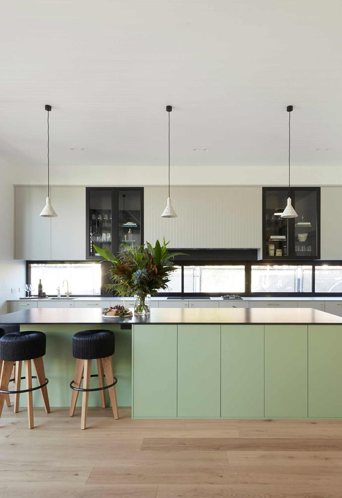 "**[Week 6, Kitchen Week](https://www.homestolove.com.au/the-block-2020-kitchen-reveals-21892|target=""_blank"")** The highly competitive kitchen week saw Jimmy and Tam finally get to make use of their $120k worth of Gaggenau appliances and opting to stock the wine fridge with $5000 worth of bottles, the couple opted for mint green kitchen cabinetry to add a colourful touch."
