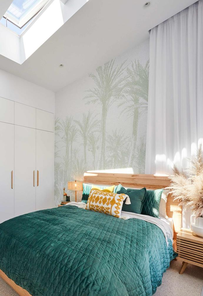 "**[Week 1, Guest Bedroom](https://www.homestolove.com.au/the-block-2020-guest-bedroom-reveals-21780|target=""_blank"")** Starting the season with a bang, Jimmy and Tam won guest bedroom week, with the judges loving the graffico wallpaper print as well as Tam's styling choices. They did, however, wish that the Queensland couple had included more authentically '50s details."