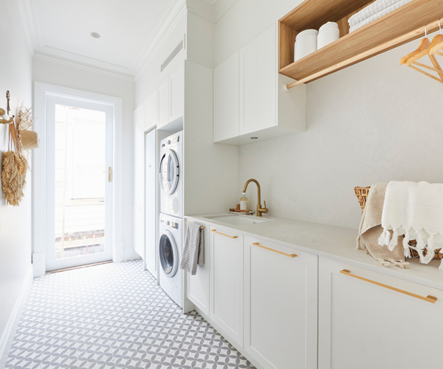 **Week 9, Laundry** With ample storage, a functional layout and elegance in spades, the judges couldn't fault Luke and Jasmin's spacious, light-filled laundry.