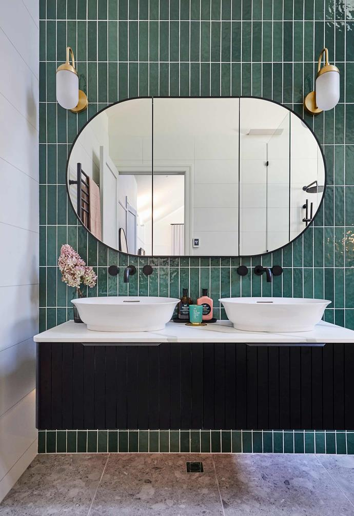 """Harry and Tash's master ensuite features a glamourous mix of tiles that echo Art Deco design.[link text](https://www.homestolove.com.au/art-deco-architecture-in-australia-6673