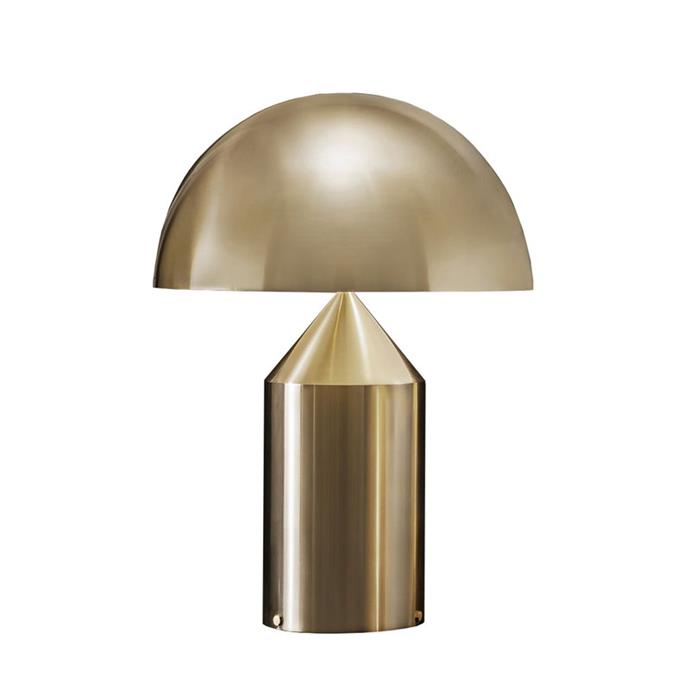 "Oluce 'Atollo 238' table lamp in Gold, $1434, [Finnish Design Shop](https://www.finnishdesignshop.com/lighting-table-lamps-table-lamps-atollo-238-table-lamp-gold-p-16007.html?region=au&utm_source=google&utm_medium=surfaces&utm_campaign=au&utm_content=free-google-shopping-clicks&gclid=EAIaIQobChMIl_PQhcbJ7AIVTyUrCh1XUQRrEAQYASABEgIOUfD_BwE|target=""_blank""