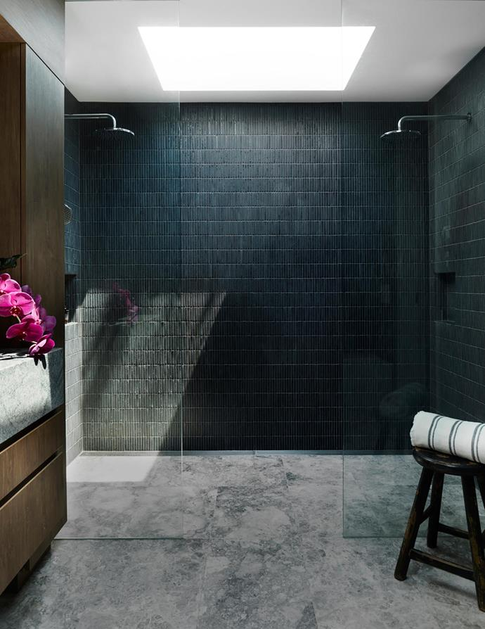 Brodware 'City Plus' showerheads, Candana. 'Apex Metal' mosaic wall tiles and 'Dogal' marble floor tiles, Surface Gallery