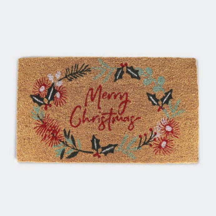 """Merry Christmas door mat, $10, [Kmart](https://www.kmart.com.au/product/merry-christmas-door-mat/3168329 target=""""_blank"""" rel=""""nofollow"""")"""