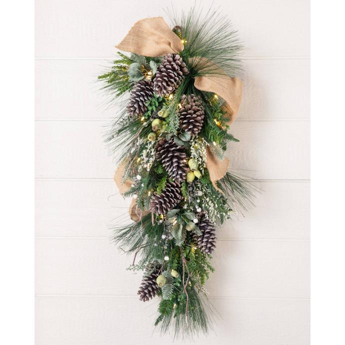 "Outdoor homestead pine foliage swag, $319, [Balsam Hills](https://www.balsamhill.com.au/p/outdoor-homestead-pine-foliage?sku=4002562|target=""_blank""