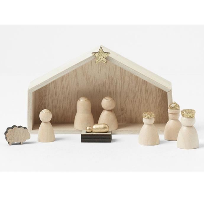 "Morgan & Finish mini wooden nativity set, $12.99, [Bed Bath N' Table](https://www.bedbathntable.com.au//te-wooden-mini-nativity-s9-natural-21165201|target=""_blank""