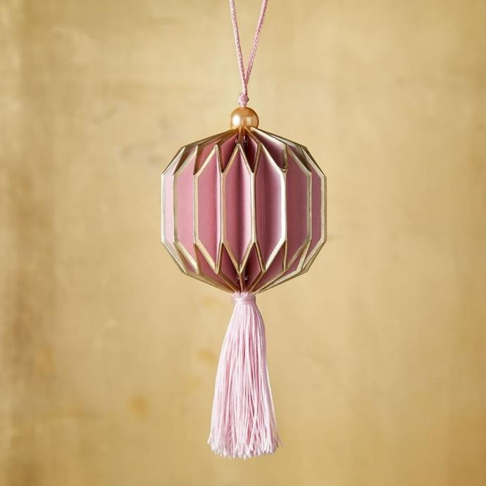 "Paper accordion tassel ornament, $8, [West Elm](https://www.westelm.com.au/paper-accordion-tassel-ornament-d5489|target=""_blank""