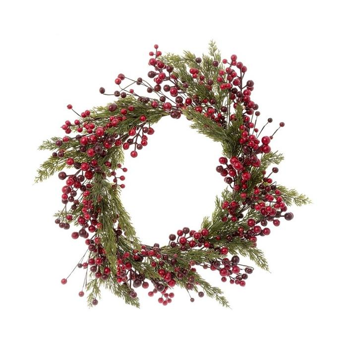 "Pine & red berry Christmas wreath, $114, [Temple & Webster](https://www.templeandwebster.com.au/55cm-Pine-and-Red-Berry-Christmas-Wreath-FVV1746124-VNVT1003.html|target=""_blank""