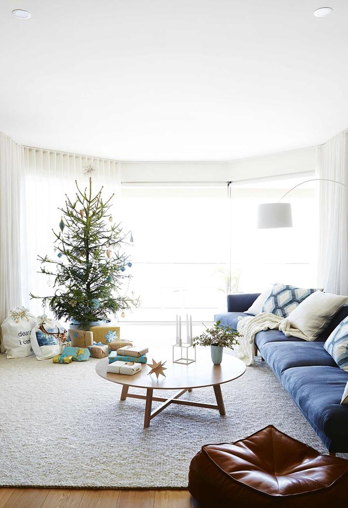 """**Living area** A spruce Christmas tree from [Julian Ronchi Garden Design and Nursery](https://www.julianronchi.com.au/