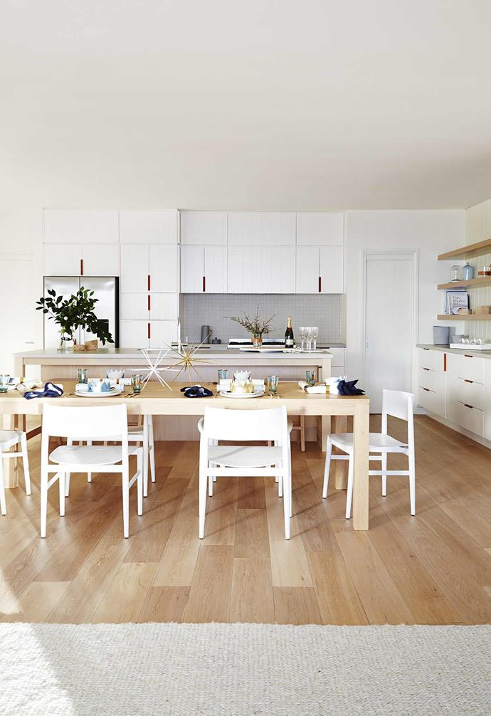 """**Kitchen/dining area** Panelling and pale timber create a relaxed Hamptons look with a [GlobeWest](https://www.globewest.com.au/