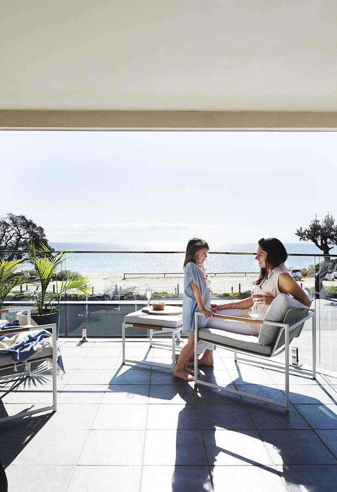 """**Balcony** Jennifer and Lilah enjoying the view on [Eco Outdoor](https://www.ecooutdoor.com.au/