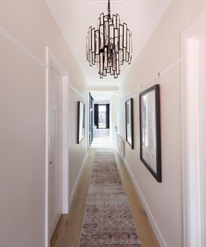 **Week 9, Hallway** The judges were impressed with the period details that Daniel and Jade have retained in their hallway. For Darren, the stunning ceiling rose and long runner turned the very simple space into a serene, elegant entrance.