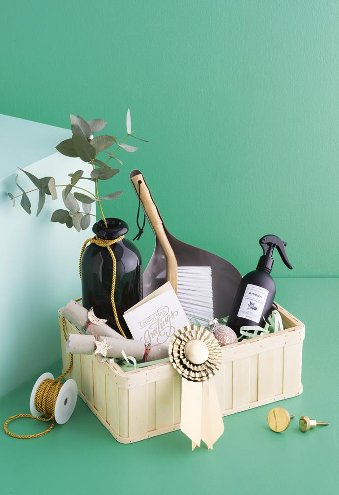 Put together a chic housewarming hamper, complete with cleaning must-haves, a vase for blooms and finishing touches in a handy basket.
