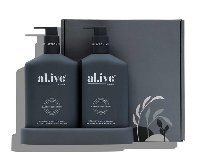 """**For self-care** Wash and Lotion Duo, $79, [al.ive Body](https://alivebody.com.au/collections/shop-the-duo/products/wash-lotion-duo-tray-coconut-wild-orange