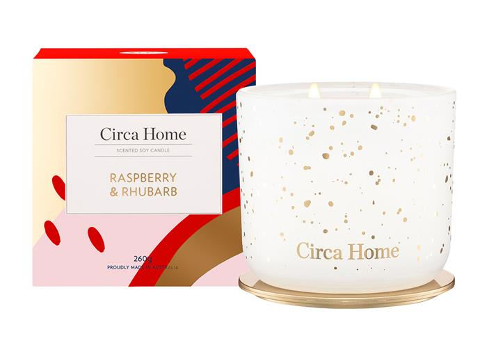 """**For self-care** Raspberry and Rhubarb Soy Candle, $39.95, [Circa Home](https://circahome.com.au/collections/a-time-of-wonder/products/raspberry-rhubarb-classic-soy-candle