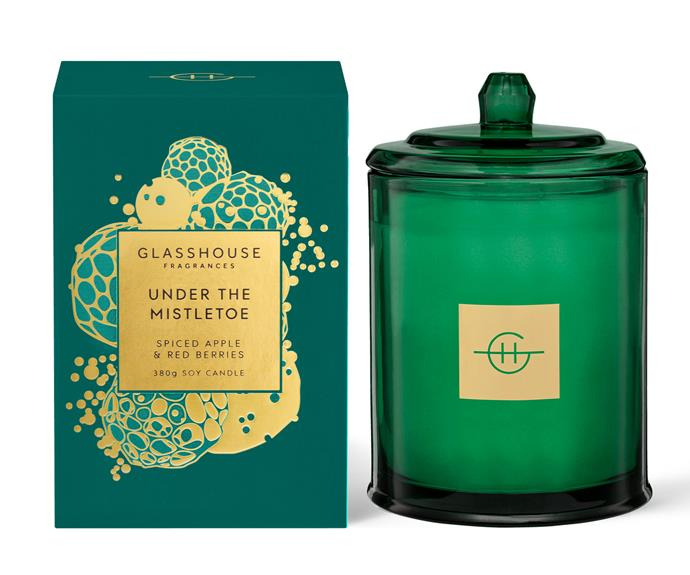 """**For the house** Under the Mistletoe Candle, $54.95, [Glasshouse Fragrances](https://www.glasshousefragrances.com/products/380g-candle-under-the-mistletoe?variant=32787068977236