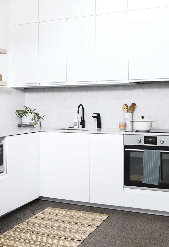 We worked out the essential elements the kitchen needed to be functional (a new Hisense fridge, oven, cooktop and integrated dishwasher, streamlined bench space, new surfaces), then also how we could make it feel a bit more special.