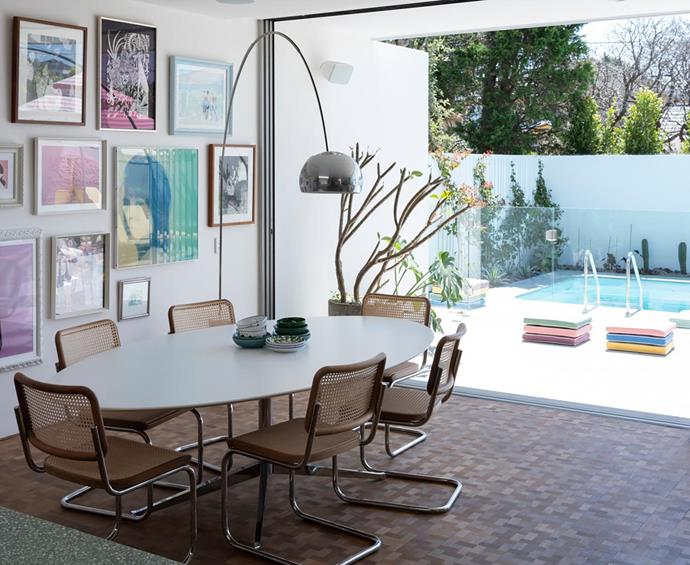 Thonet 'S32' chairs from Anibou. Florence Knoll dining table from De De Ce. Flos 'Arco' lamp from Euroluce. Tallowwood basket-weave parquetry flooring from Precision Flooring. Artworks, owner's collection.