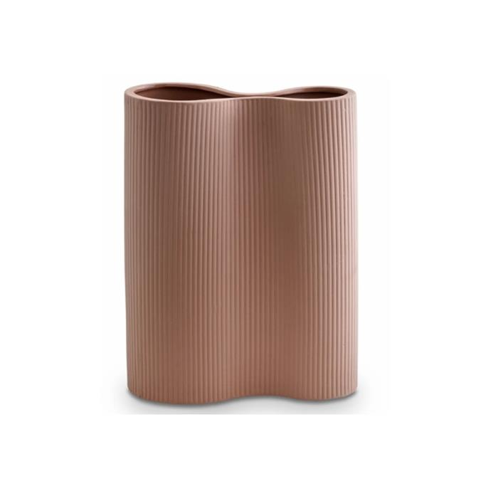 "Ribbed infinite vase in ochre, $79, [Marmoset Found](https://marmosetfound.com.au/collections/all/products/ribbed-infinity-vase-ochre-m|target=""_blank""