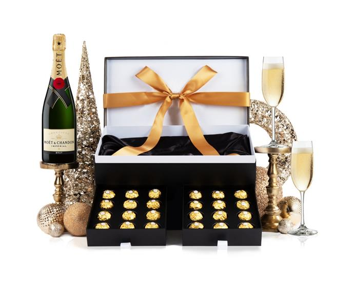 "'Christmas With Moet' hamper, $165, [Hampers With Bite](https://www.hamperswithbite.com.au/christmas-with-moet|target=""_blank""