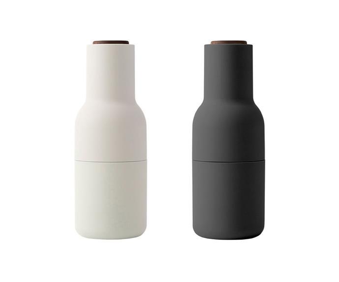 "Menu Bottle Grinder in Carbon and Walnut, $110, [Finnish Design Shop](https://www.finnishdesignshop.com/kitchenware-kitchen-utensils-salt-pepper-bottle-grinder-pcs-ash-carbon-walnut-p-25597.html target=""_blank"" rel=""nofollow"")"