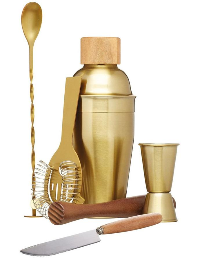 """BarCraft Cocktail Set 6pc Brass Gift Boxed, $79.95, [Myer](https://www.myer.com.au/p/barcraft-cocktail-set-6pc-brass-gift-boxed target=""""_blank"""" rel=""""nofollow"""")."""