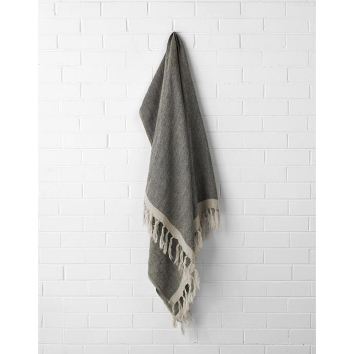 "Chambray linen throw, $169, [Aura Home](https://www.aurahome.com.au/chambray-linen-throw-black|target=""_blank""