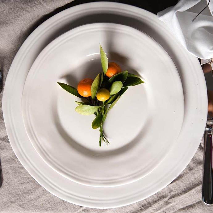 "Aquitaine Dinner Plate in White $14.95, [Provincial Home Living](https://www.provincialhomeliving.com.au/aquitaine-dinner-plate|target=""_blank""|rel=""nofollow"")"