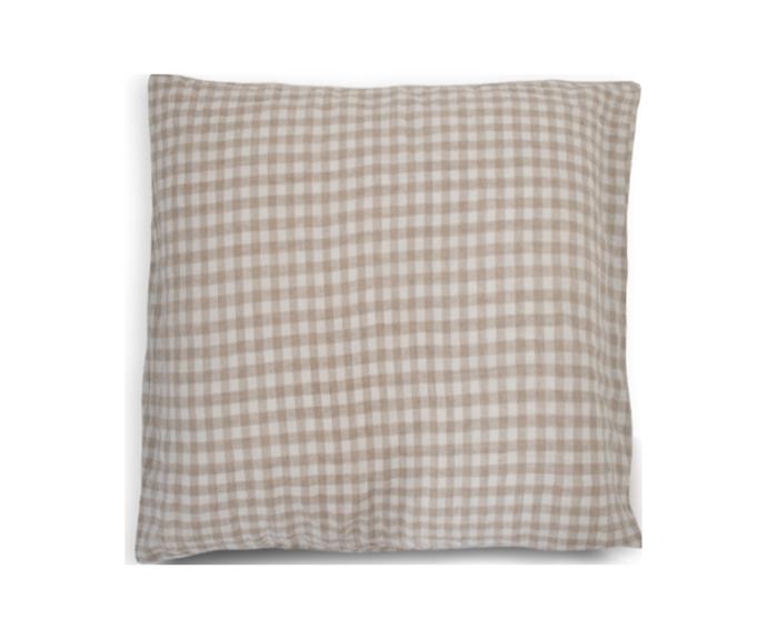 "Beige Gingham European Pillowcase, $44.95, [I Love Linen](https://www.ilovelinen.com.au/100-pure-linen-european-pillowcase-in-beige-gingham|target=""_blank""|rel=""nofollow"")"