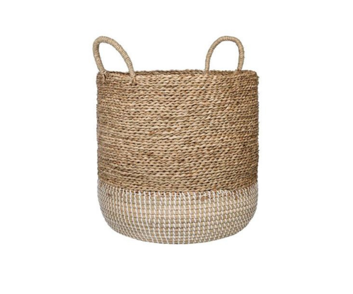 """PLATO Large Basket, Natural & White, $79.95, [Freedom](https://www.freedom.com.au/storage/organisation/all-organisation/24241960/plato-large-basket-natural-white?reflist=Product%20Search%20Listing