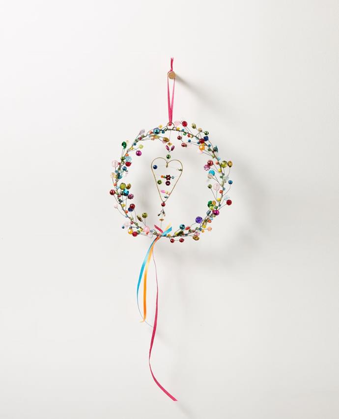 "Starlight Hanging Beaded Wreath With Heart, $24.95, [Papaya](https://www.papaya.com.au/starlight-hanging-beaded-wreath-with-heart|target=""_blank""