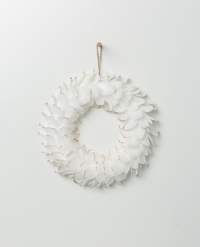 Gabriel Feather Wreath - White with Champagne Tips, $24.95, Papaya
