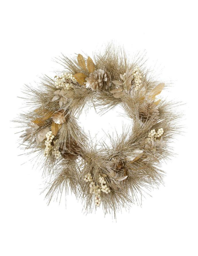 "Luxe Champagne Glittered Faux Pine Wreath with Pinecones & Berries, $99.99, [Myer](https://www.myer.com.au/p/myer-giftorium-luxe-champagne-glittered-faux-pine-wreath-with-pinecones-berries|target=""_blank""