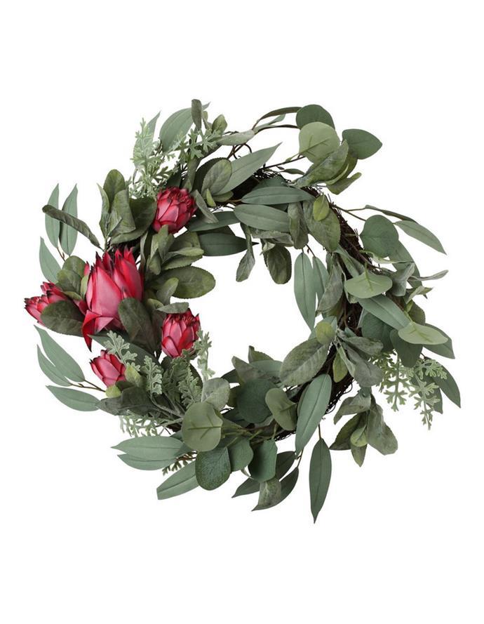 "Australian House & Garden Eucalyptus Faux Protea & Native Foliage Wreath,  $99.99, [Myer](https://www.myer.com.au/p/australian-house-garden-eucalyptus-faux-protea-native-foliage-wreath|target=""_blank""|rel=""nofollow"")"