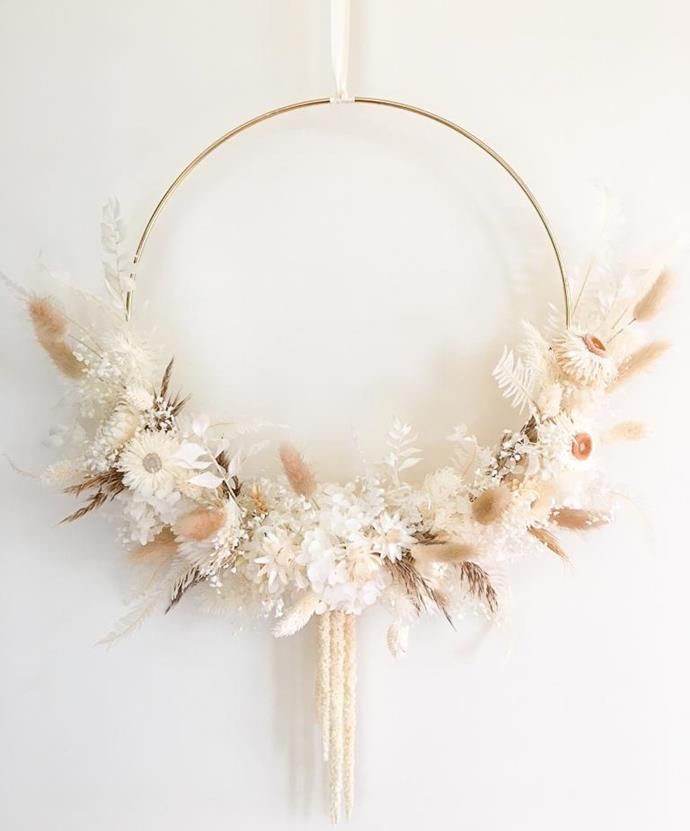 "Dreamy Dried & Preserved Floral Wreath, $195, [Oh Its Perfect](https://ohitsperfect.com.au/products/dreamy-dried-preserved-floral-wreath-large?variant=36801878163607&currency=AUD&utm_medium=product_sync&utm_source=google&utm_content=sag_organic&utm_campaign=sag_organic&utm_campaign=gs-2020-10-10&utm_source=google&utm_medium=smart_campaign&gclid=CjwKCAiA-f78BRBbEiwATKRRBDEG5CvOGCP_YtMvLQxgAMzaT1p_PUeJ9v0wAjEibrGP53_Tdi9IRRoClnAQAvD_BwE|target=""_blank""