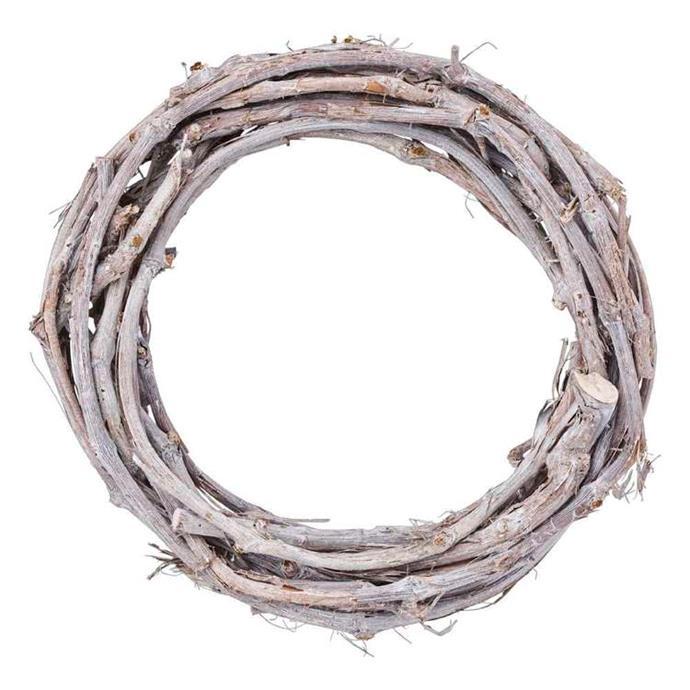 "Wood Wreath White Wash 35 cm, $20, [Spotlight](https://www.spotlightstores.com/craft-hobbies/floristry-greenery/wreaths-garlands/wood-wreath/BP80480772|target=""_blank""|rel=""nofollow"")"