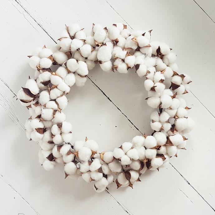 "Australian Cotton Easter Wreath, $149.95, [The Doors of Berry](https://thedoorsofberry.com.au/products/easter-cotton-wreath|target=""_blank""