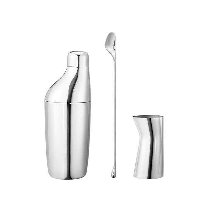 "SKY Set - Shaker, stirring spoon and jigger, $213.75, [Georg Jensen](https://www.georgjensen.com/en-au/dining-and-bar/bar-and-wine/sky-set---shaker-stirring-spoon-and-jigger/10009247.html target=""_blank"" rel=""nofollow"")"