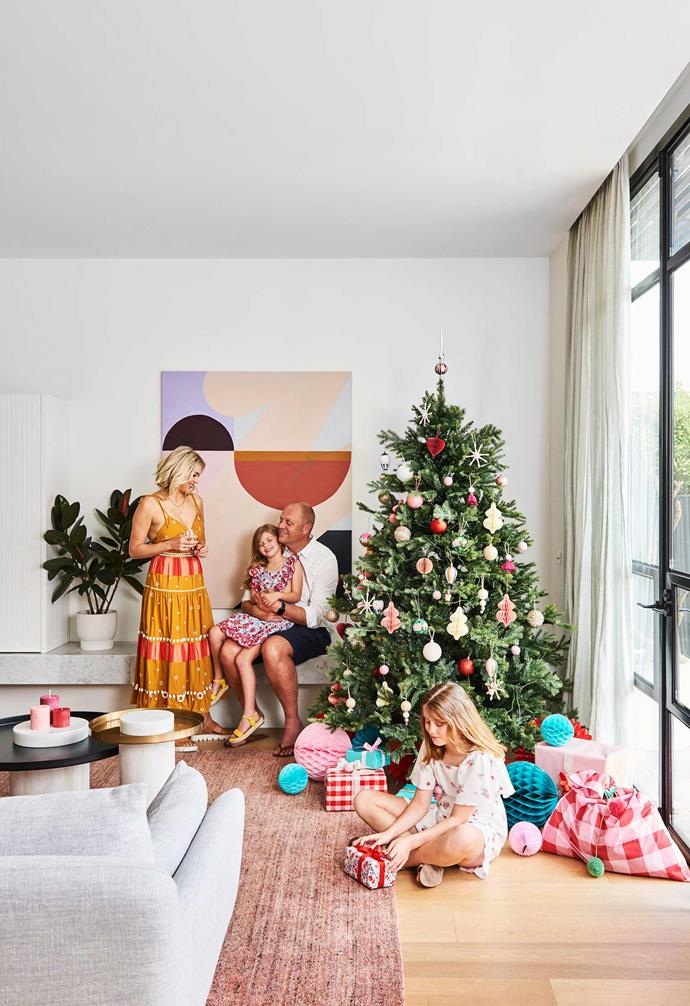 "**Living** Come Christmas time, the family starts their festivities by selecting a tree and decorating it to merry-making tunes. The decorations, which take their cues from the large-scale artwork by Bec Connell, are a mix from [Target](https://www.target.com.au/|target=""_blank""