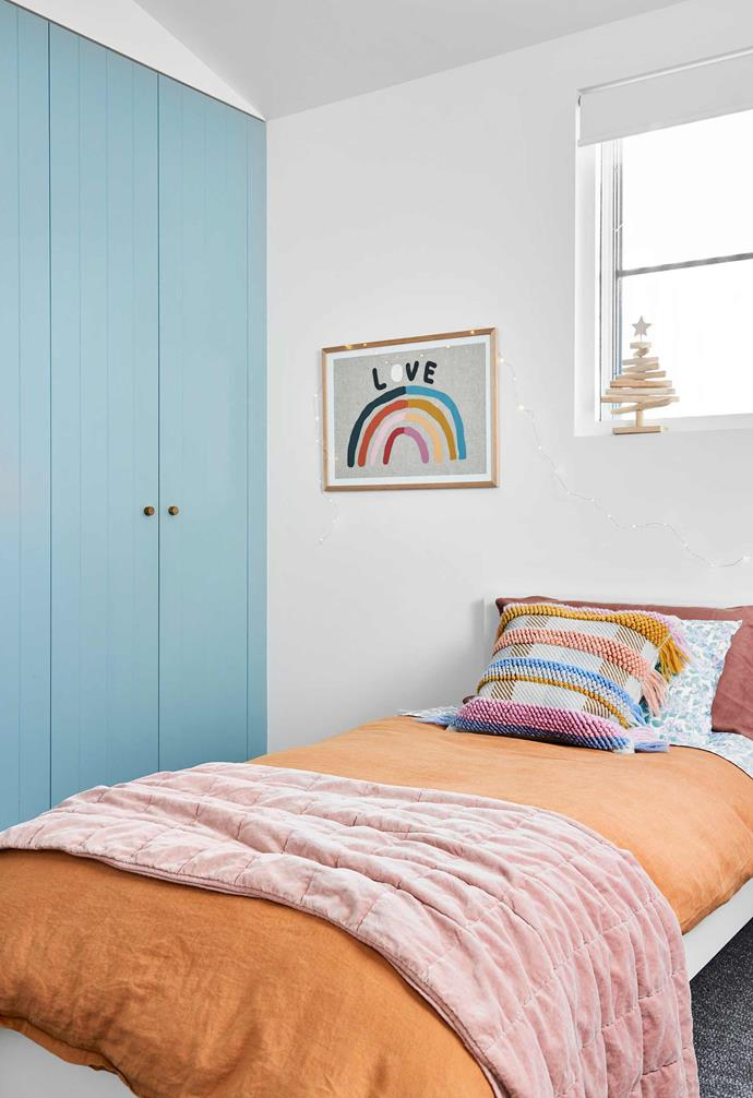 "**Lulu's bedroom** Bright bed linen and a Rachel Castle artwork make this space. Cushion, [Sage x Clare](https://sageandclare.com/|target=""_blank""