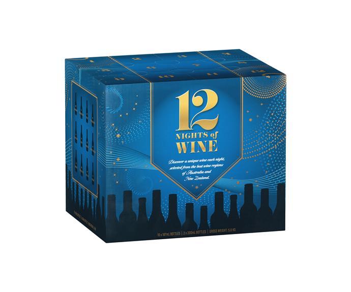 "12 Nights Of Wine advent calendar, $47.99, [Dan Murphy's](https://www.danmurphys.com.au/gifts|target=""_blank""|rel=""nofollow""). (Available mid November)"
