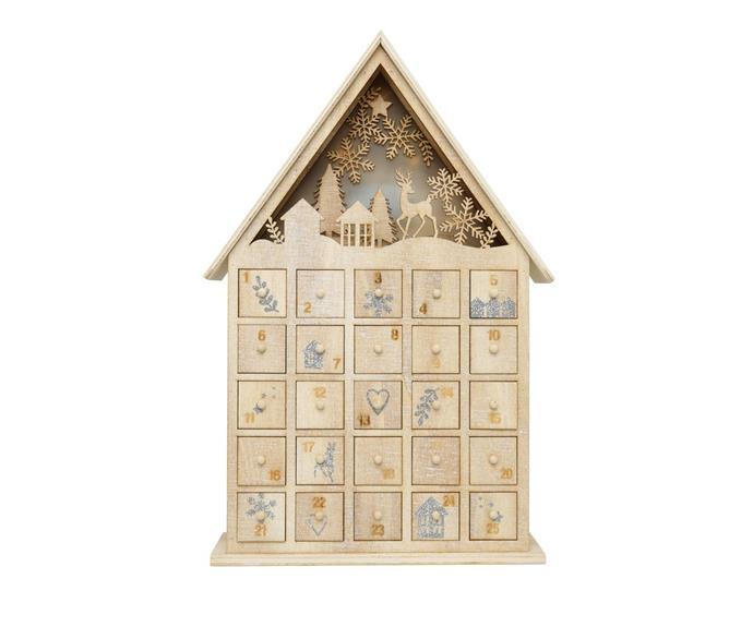 "*Australian House & Garden* Eucalyptus Plywood White-washed House LED Advent Calendar, $79.99, [Myer](https://www.myer.com.au/p/australian-house-garden-eucalyptus-plywod-white-washed-house-led-advent-calendar-natural-38-cm|target=""_blank""|rel=""nofollow"")"
