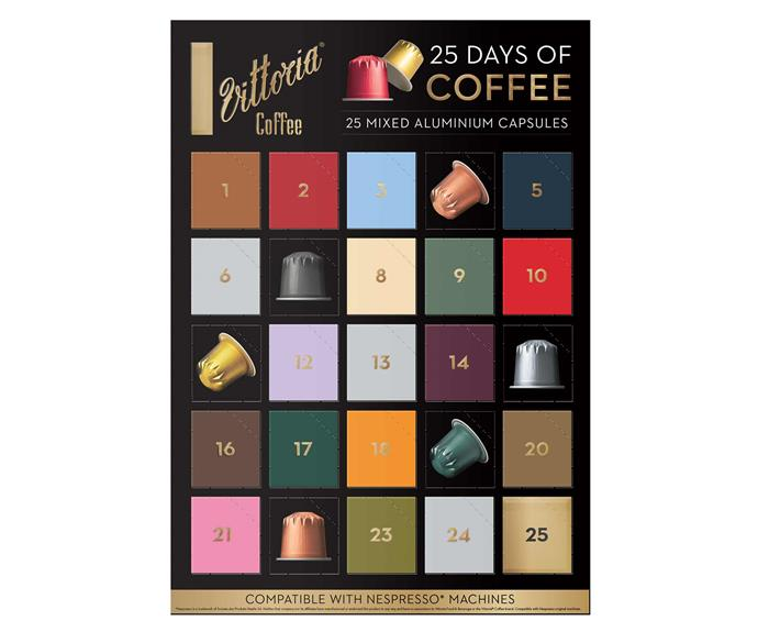 """25 Days of Coffee Advent Calendar from Vittoria Coffee, $20, [Woolworths](https://www.woolworths.com.au/shop/productdetails/121165/vittoria-nespresso-compatible-capsules-advent-calendar