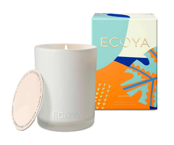 """Lagoon Madison Candle, $44.95, [Ecoya](https://www.ecoya.com.au/collections/new-in/products/spritz-madison-candle
