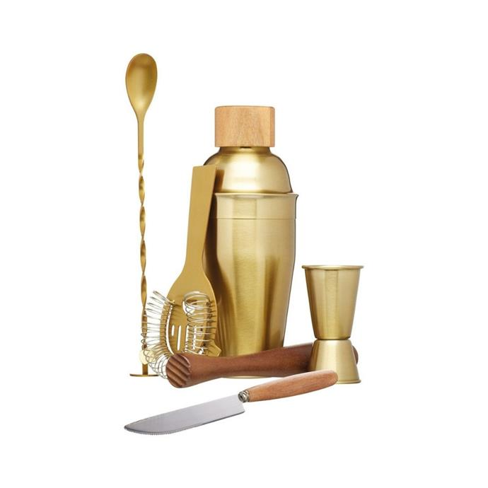"BarCraft cocktail set 6pc brass gift boxed, $79.95, [Myer](https://www.myer.com.au/p/barcraft-cocktail-set-6pc-brass-gift-boxed?istCompanyId=84873db0-394f-434b-8958-29526fe5f03c&istFeedId=3dd6959f-3482-45a5-8a47-313fef9bbe16&istItemId=iwaiapwlp&istBid=t&utm_source=googlesurfaces%20&utm_medium=organic&utm_campaign=shopping&utm_content=|target=""_blank""