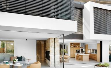 A contemporary family home with a two-pavilion design