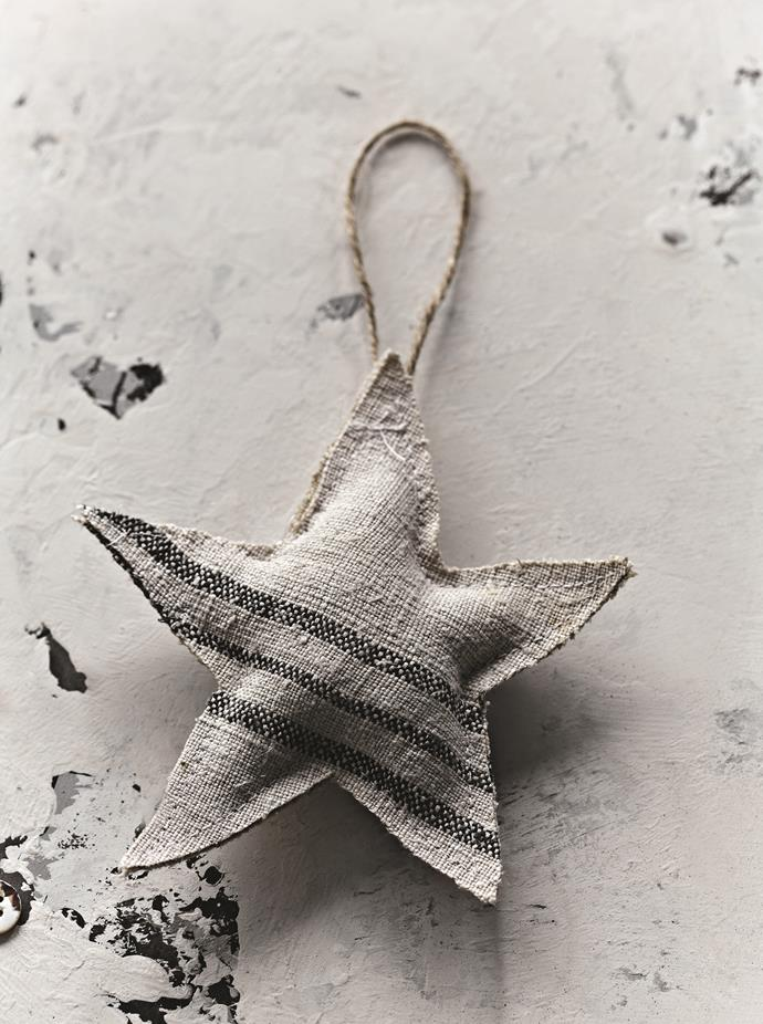 Upcycle your old linen tea towels to create this sweet star ornaments.