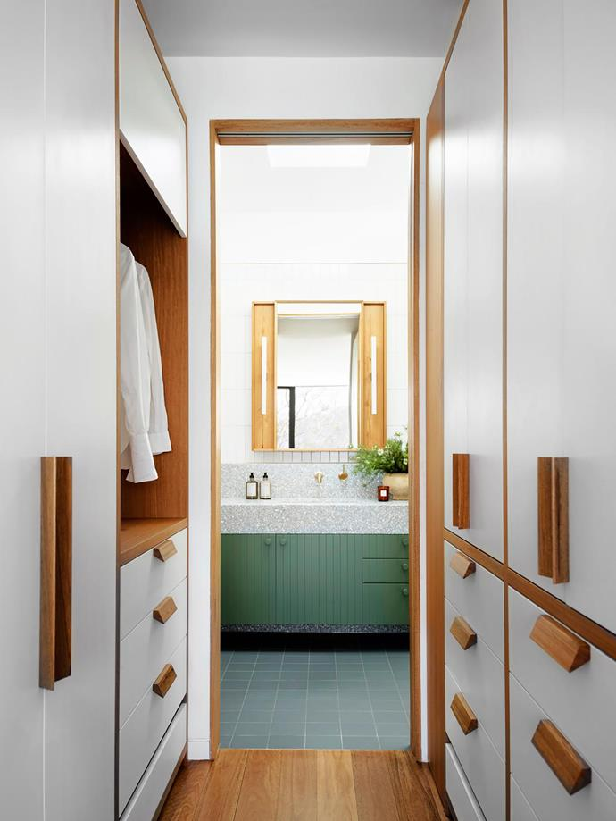 Looking through to the master ensuite, custom wardrobes were designed by Arent&Pyke and built 
