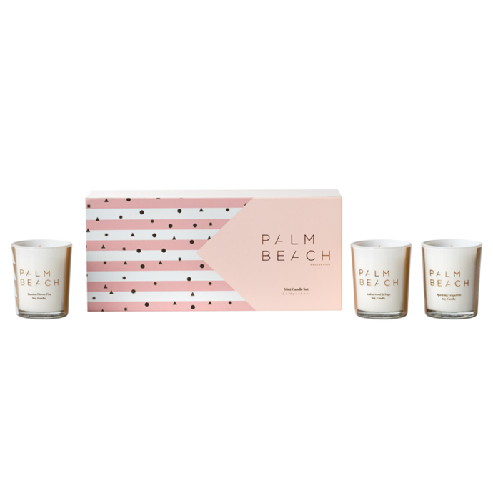 """Trio Candle Pack Christmas 2020, $39.95, [Palm Beach Co.](https://palmbeachcollection.com.au/products/trio-candle-christmas-pack-2020 target=""""_blank"""" rel=""""nofollow"""") <br><br> Christmas means summer in Australia so fruity, cocktail-inspired scents are perfect for celebrating the festive season. This trio of Mini Candles by Palm Beach Co. in three signature scents - Passion Flower Fizz, Sparkling Grapefruit and Amberwood & Sage - will have you feeling festive."""
