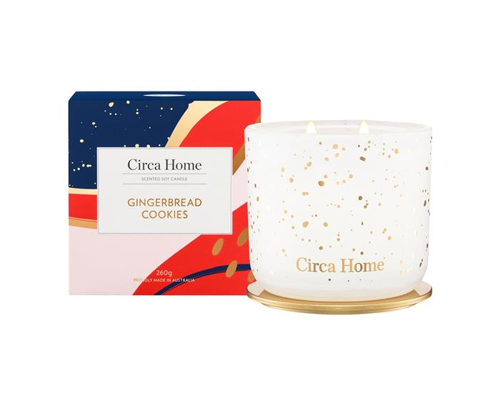 """Gingerbread Cookies candle, $39.95, [Circa Home](https://circahome.com.au/collections/scented-soy-candles/products/gingerbread-cookies-classic-soy-candle target=""""_blank"""" rel=""""nofollow"""") <br><br> You don't even need to turn the oven on to fill your home with the warming scent of gingerbread baking. This candle will do it for you!"""
